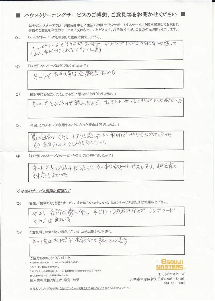 2016/11/19 レンジフードクリーニング 東京都目黒区