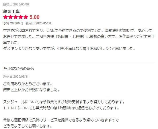 【利用者の声】レンジフードクリーニング,エアコンクリーニング@神奈川県横浜市神奈川区